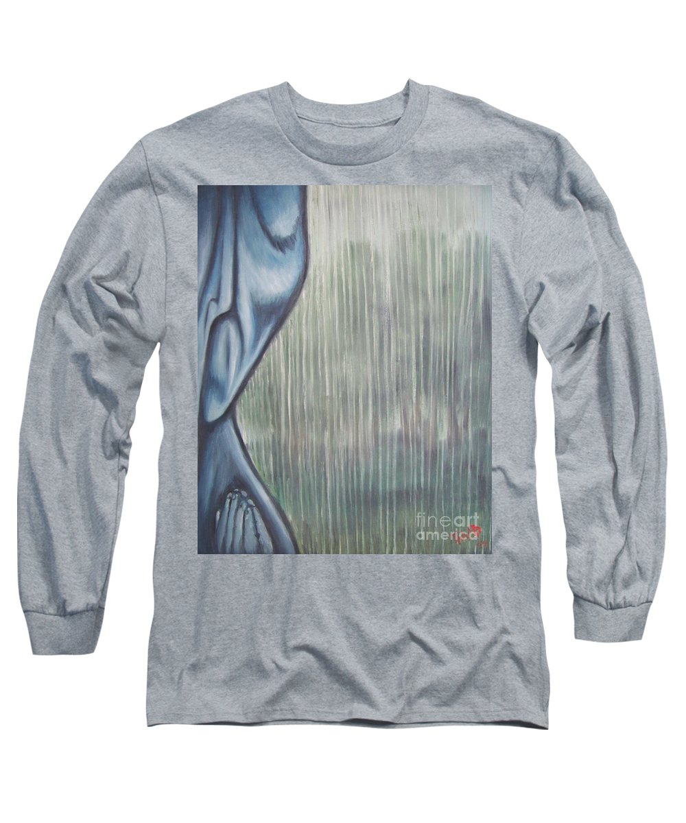 Tmad Long Sleeve T-Shirt featuring the painting Tranquil Rain by Michael TMAD Finney