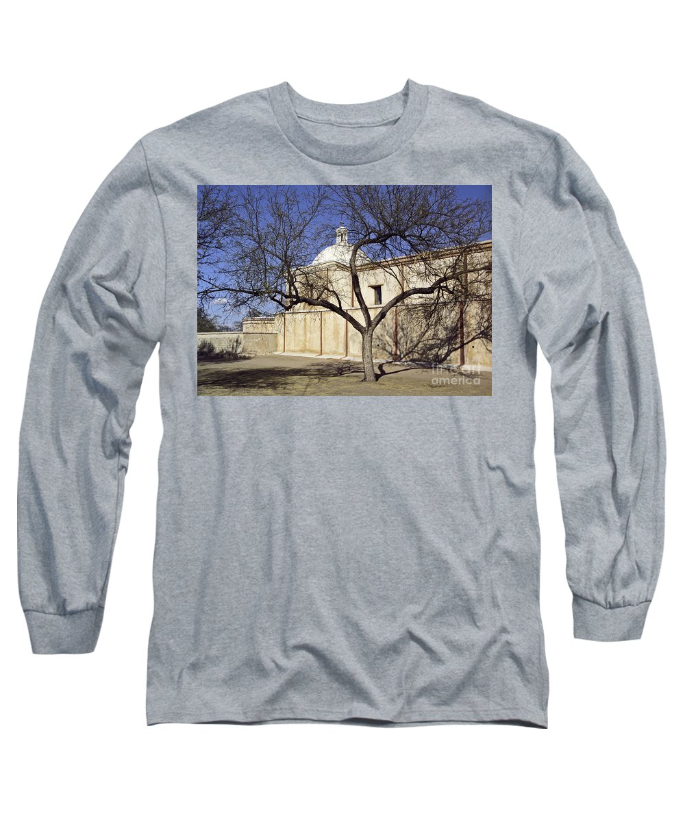 Mission Long Sleeve T-Shirt featuring the photograph Tumacacori With Tree by Kathy McClure