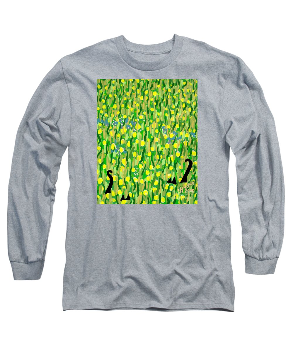 Flowers Long Sleeve T-Shirt featuring the painting Two Black Cats by Alan Hogan