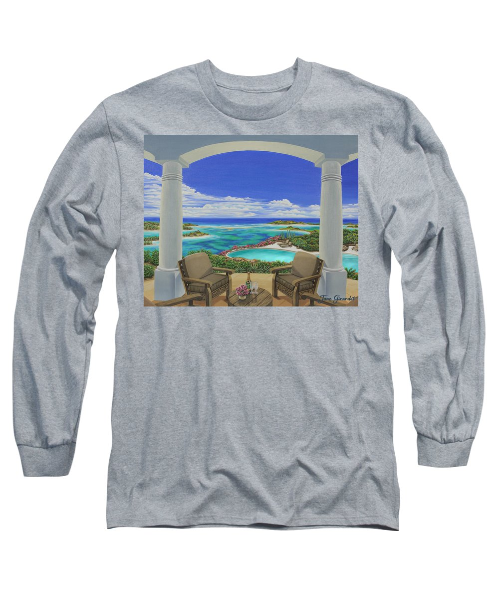 Ocean Long Sleeve T-Shirt featuring the painting Vacation View by Jane Girardot