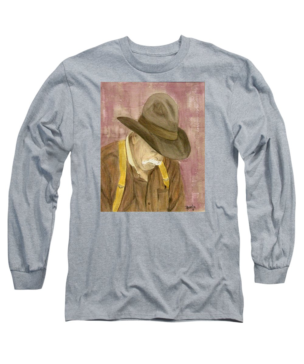 Western Long Sleeve T-Shirt featuring the painting Walter by Regan J Smith