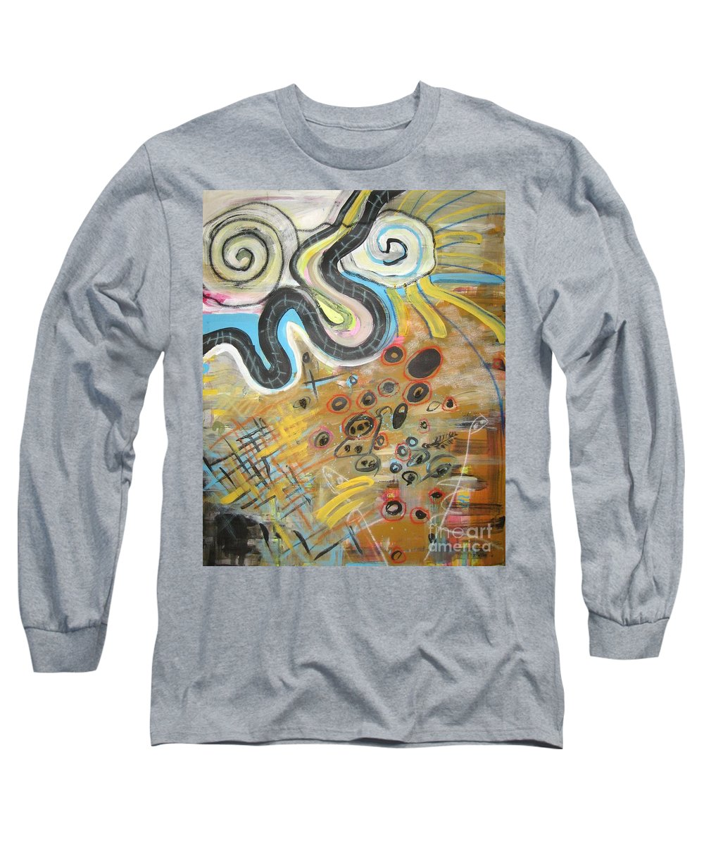 Abstract Long Sleeve T-Shirt featuring the painting Wandering In Thought2 Original Abstract Colorful Landscape Painting For Sale Yellow Blue Green by Seon-Jeong Kim