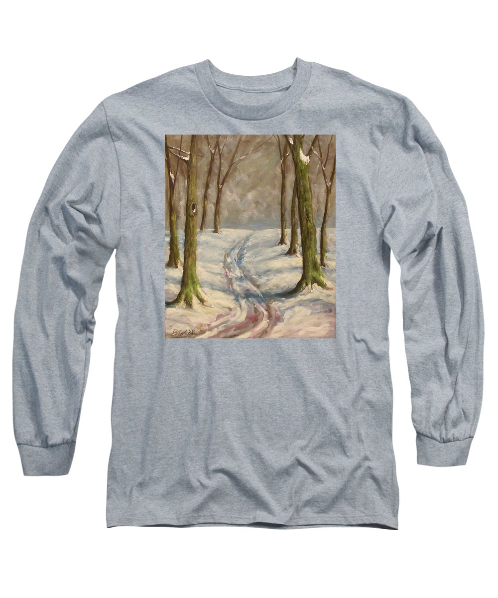 Winter Long Sleeve T-Shirt featuring the painting Winter Day by Birgit Schnapp