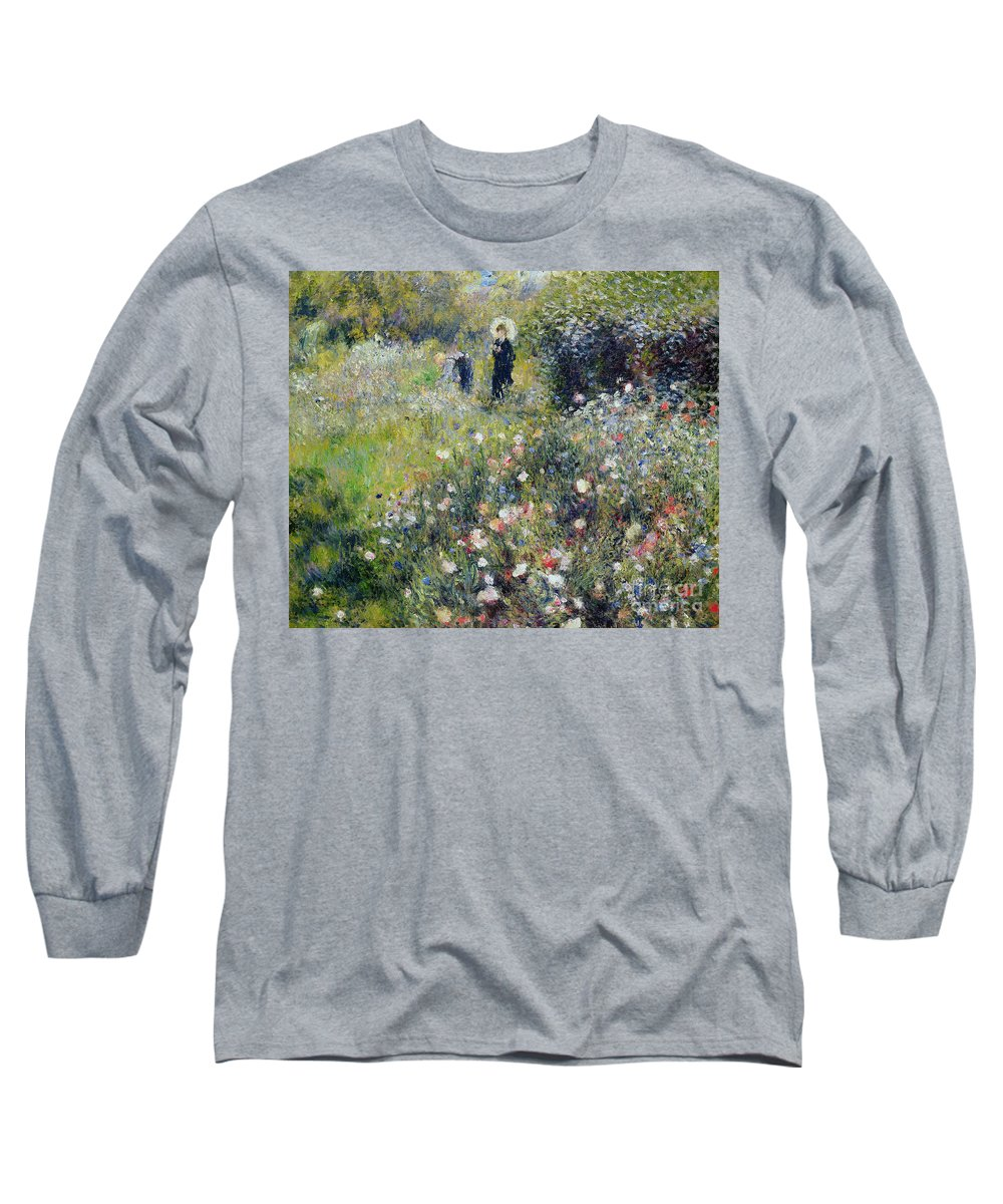 Picking Flowers Long Sleeve T-Shirt featuring the painting Woman With A Parasol In A Garden, 1875 by Pierre Auguste Renoir