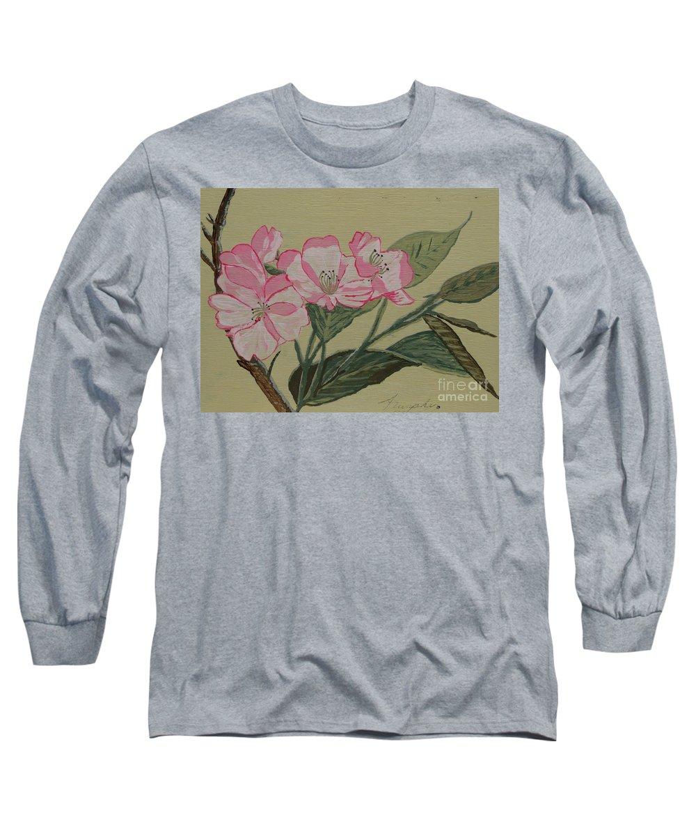 Yamazakura Long Sleeve T-Shirt featuring the painting Yamazakura Or Cherry Blossom by Anthony Dunphy