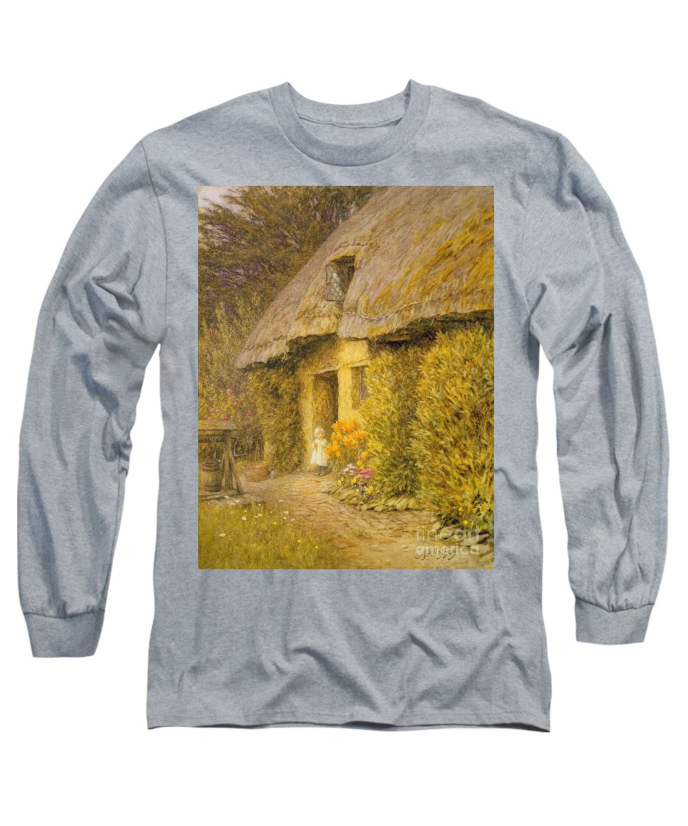 Well Long Sleeve T-Shirt featuring the painting A Child At The Doorway Of A Thatched Cottage by Helen Allingham