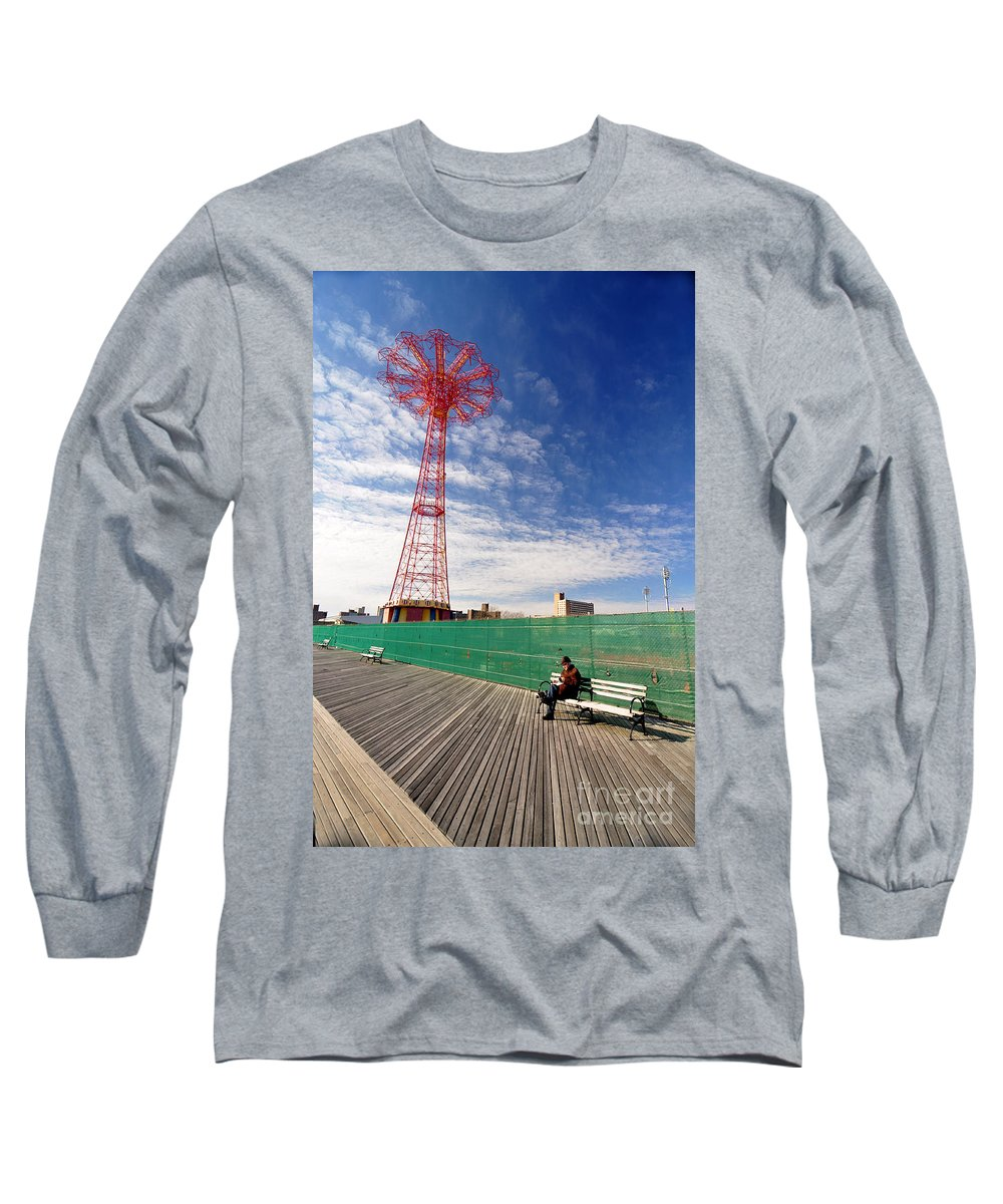 Coney Island Long Sleeve T-Shirt featuring the photograph Man On A Bench by Mark Gilman