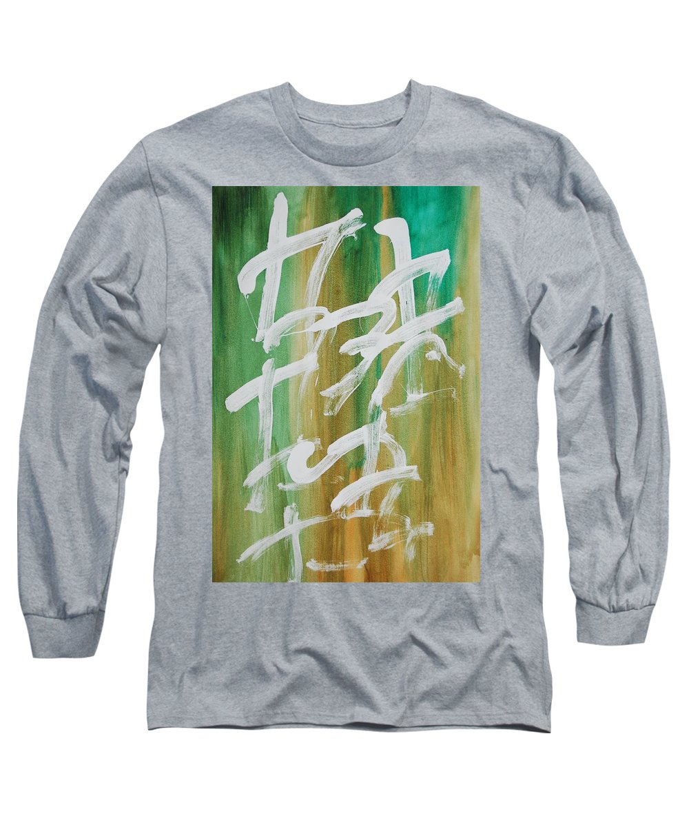 Chinese Long Sleeve T-Shirt featuring the painting Chinese Numbers by Lauren Luna
