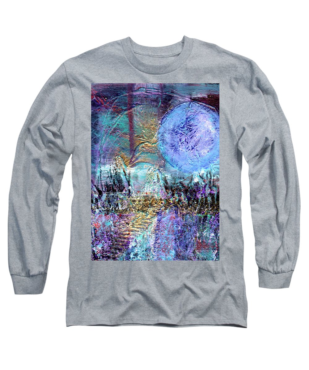 Abstract Long Sleeve T-Shirt featuring the painting Another World by Wayne Potrafka
