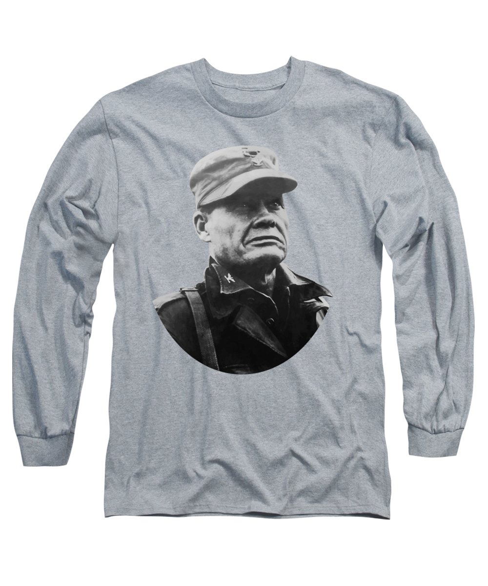 Chesty Puller Long Sleeve T-Shirt featuring the painting Chesty Puller by War Is Hell Store