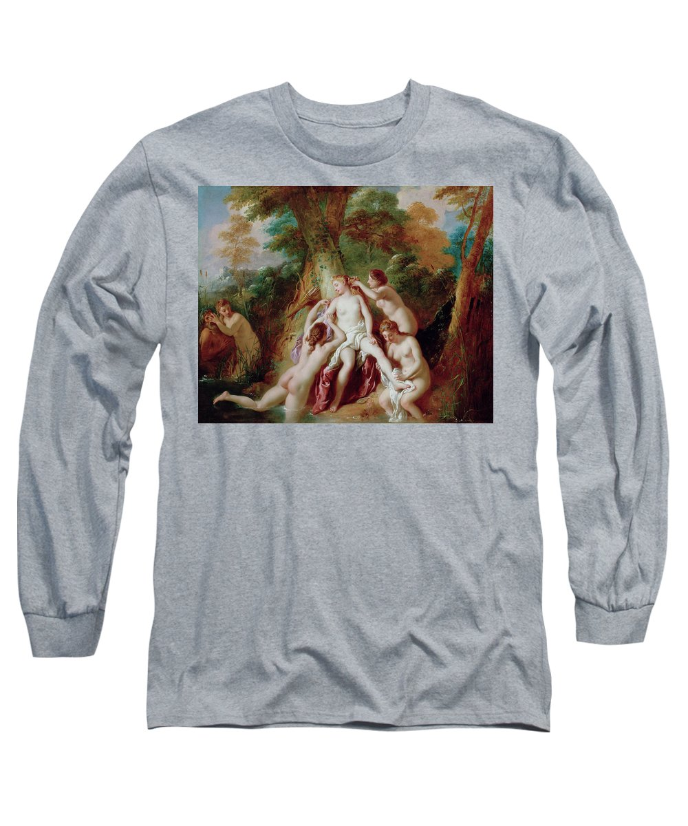 Bathers Long Sleeve T-Shirt featuring the painting Diana And Her Nymphs Bathing 1 by Jean Francois de Troy