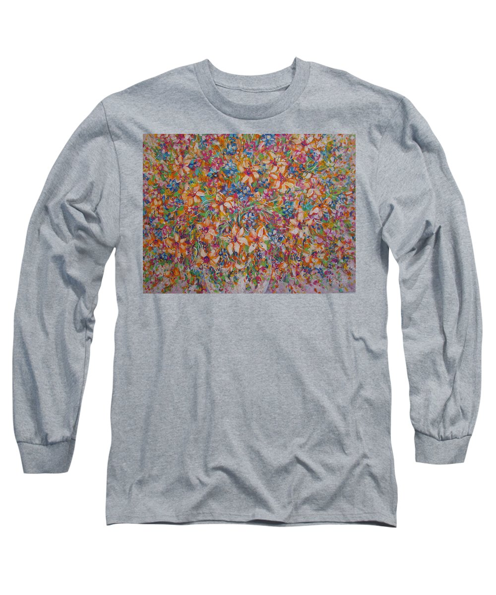Flowers Long Sleeve T-Shirt featuring the painting Flower Galaxy by Natalie Holland