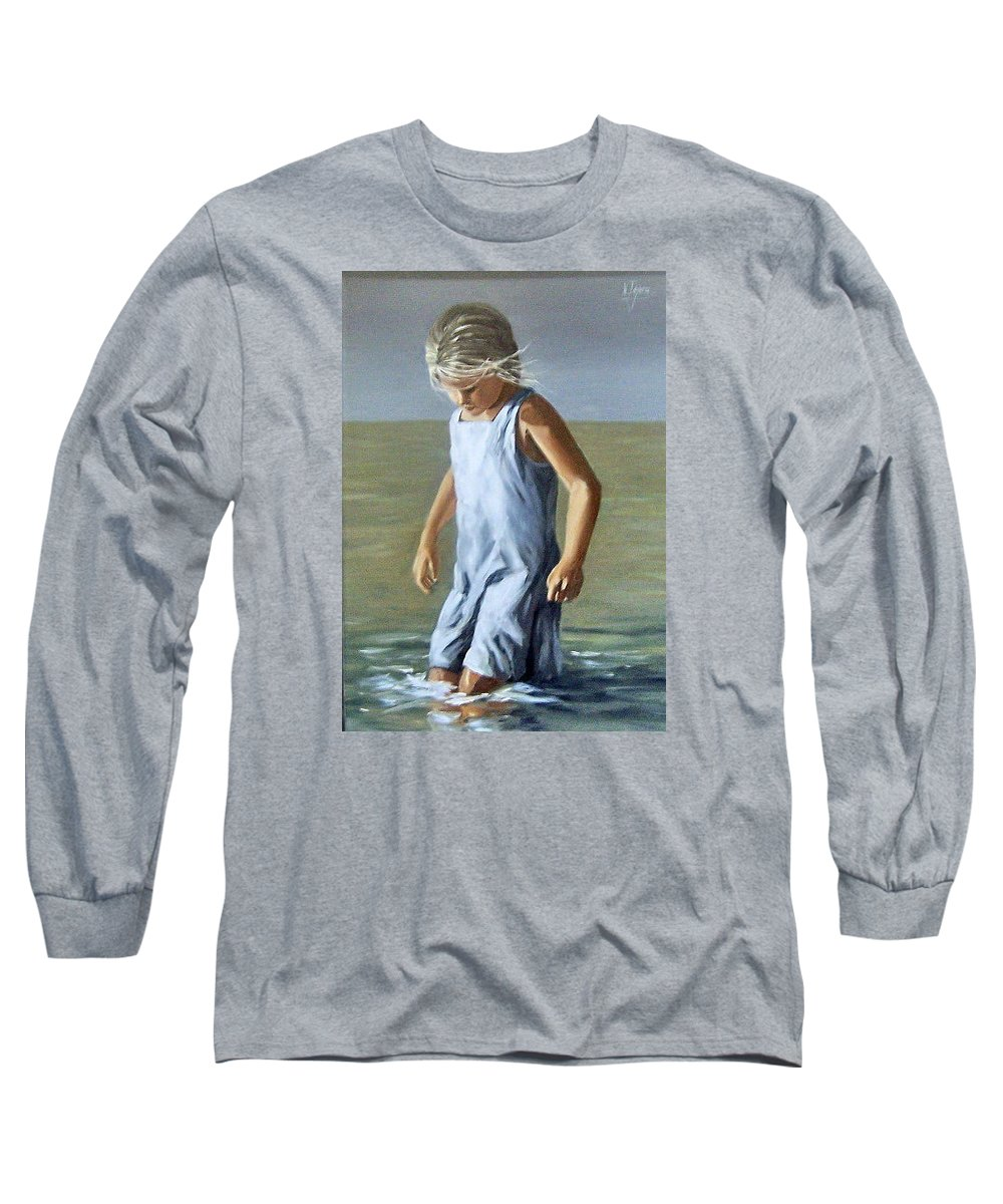 Girl Children Reflection Water Sea Figurative Portrait Long Sleeve T-Shirt featuring the painting Girl by Natalia Tejera