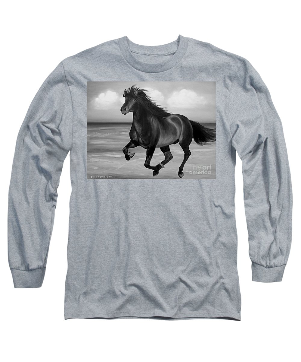 Horses Long Sleeve T-Shirt featuring the painting Horses In Paradise Run by Gina De Gorna