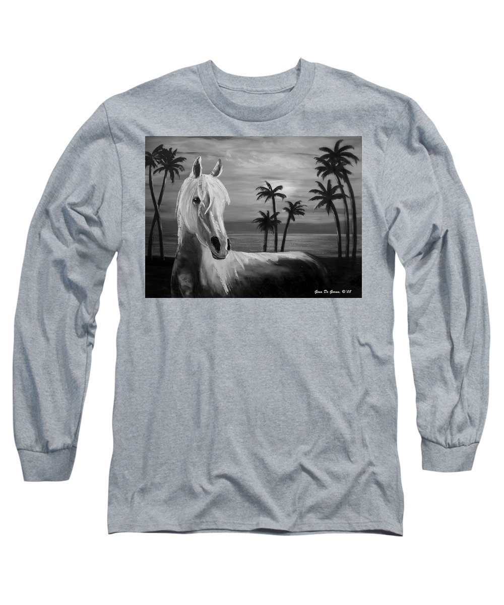 Horses Long Sleeve T-Shirt featuring the painting Horses In Paradise Tell Me Your Dream by Gina De Gorna
