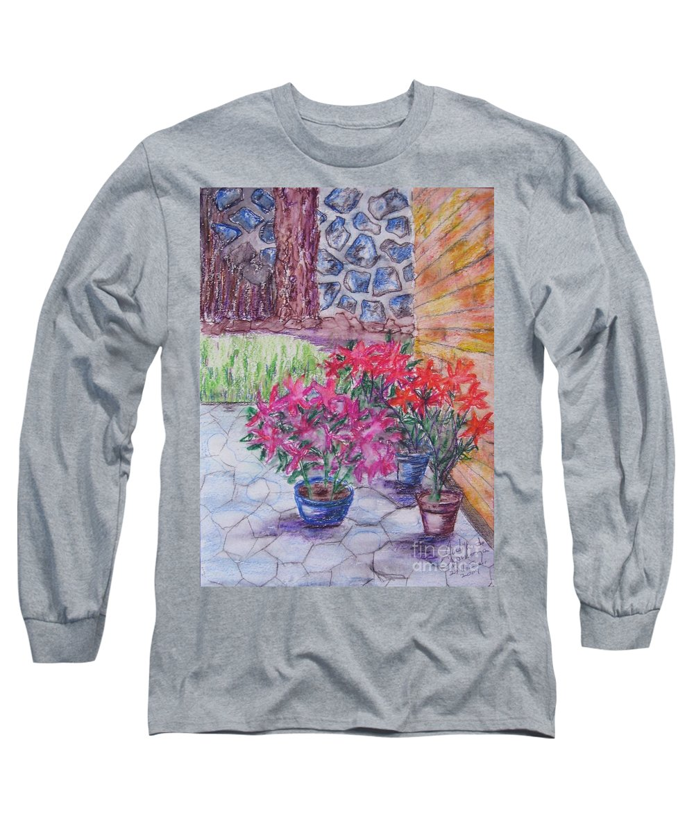 Poinsettias Long Sleeve T-Shirt featuring the painting Poinsettias - Gifted by Judith Espinoza