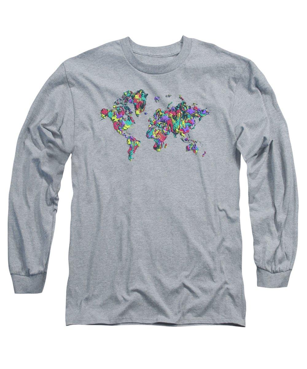 Abstract Long Sleeve T-Shirt featuring the digital art Pop Art World Map - Splashes 1 by Melanie Viola