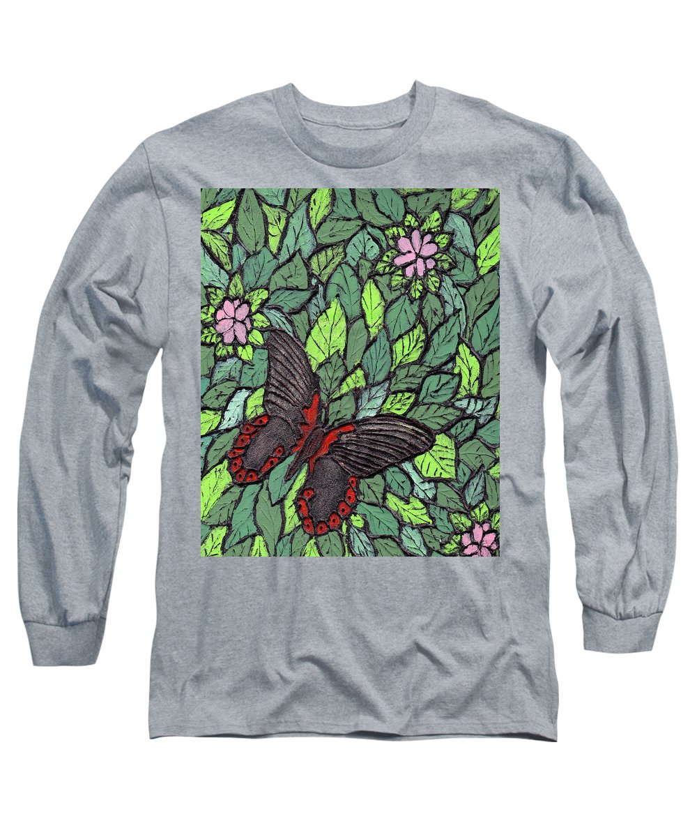Butterfly Long Sleeve T-Shirt featuring the painting Red Butterfly by Wayne Potrafka