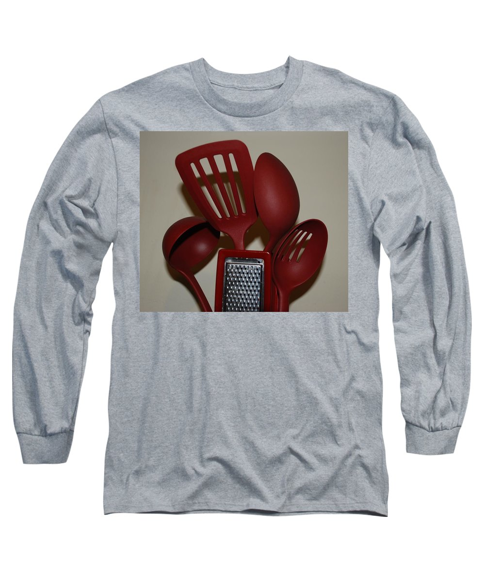 Utencils Long Sleeve T-Shirt featuring the photograph Red Kitchen Utencils by Rob Hans