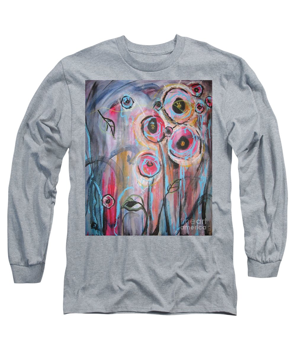 Aabstract Paintings Long Sleeve T-Shirt featuring the painting Too Many Temptations by Seon-Jeong Kim