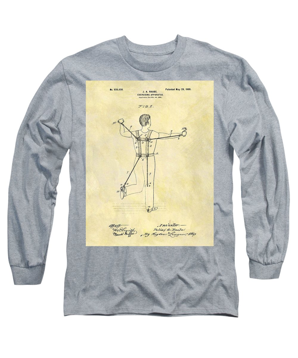 1900 Exercising Machine Patent Long Sleeve T-Shirt featuring the drawing 1900 Exercising Machine Patent by Dan Sproul