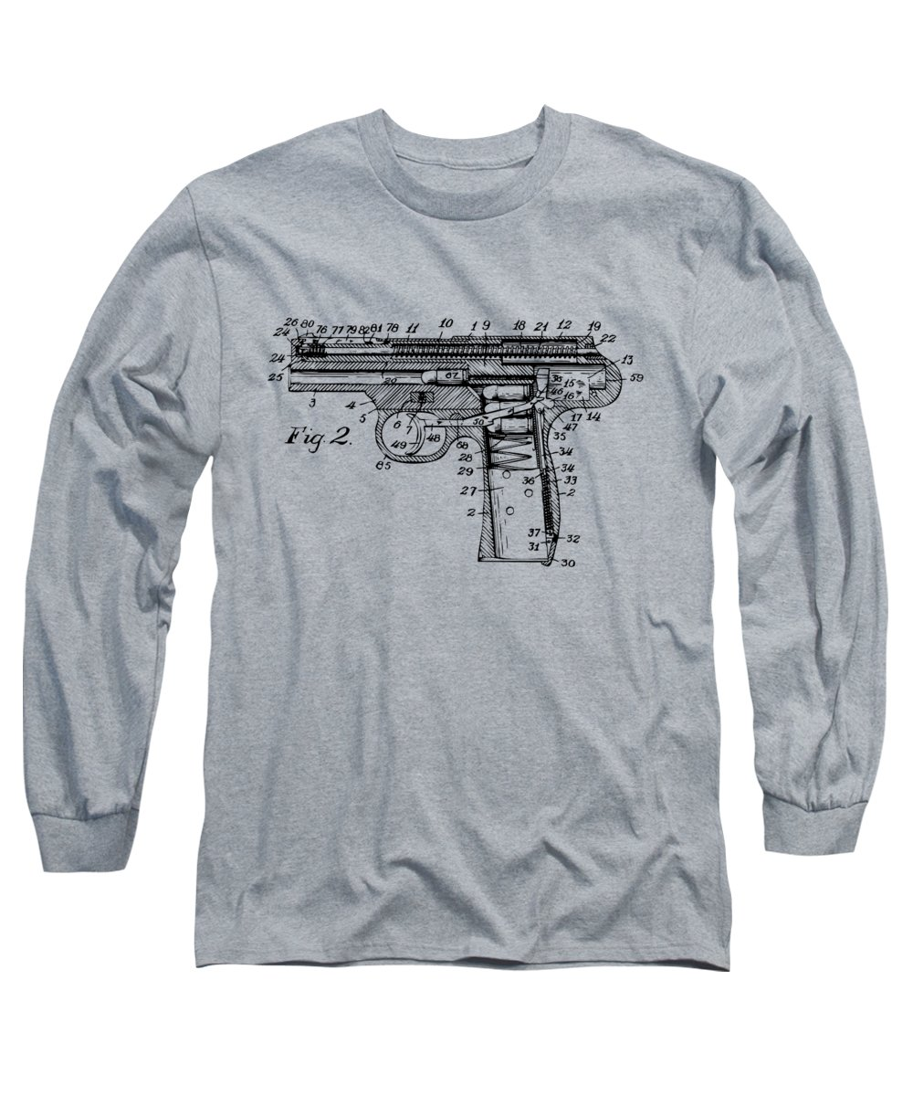 Automatic Weapon Long Sleeve T-Shirt featuring the digital art 1911 Automatic Firearm Patent Minimal - Vintage by Nikki Marie Smith