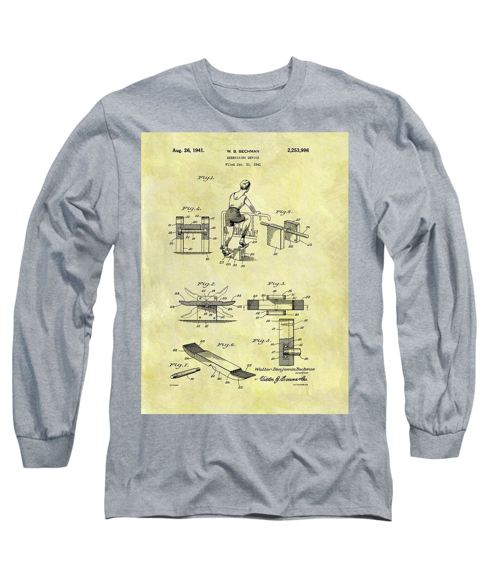 1941 Exercise Machine Patent Long Sleeve T-Shirt featuring the drawing 1941 Exercise Machine Patent by Dan Sproul