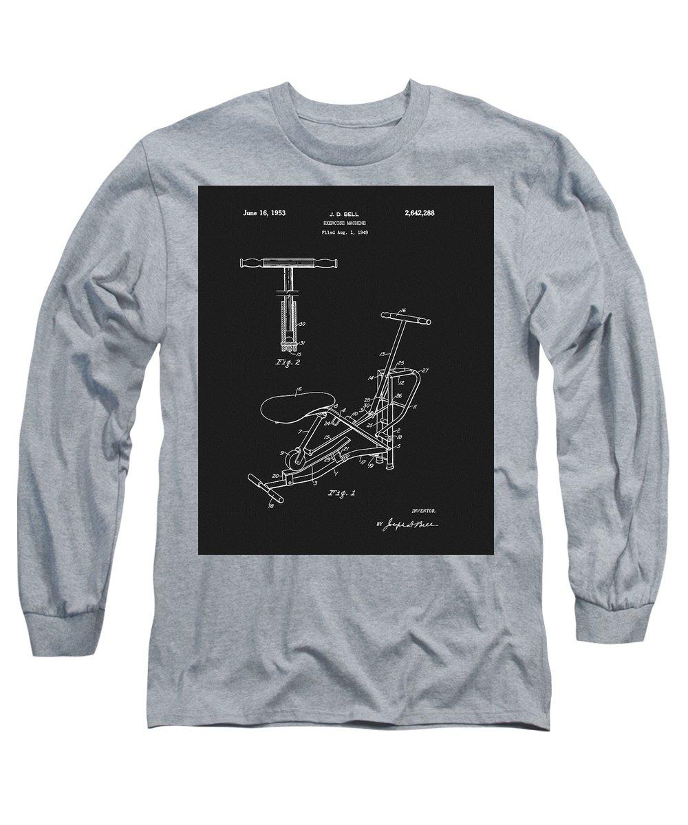 1938 Exercise Apparatus Patent Long Sleeve T-Shirt featuring the drawing 1953 Exercise Apparatus Patent by Dan Sproul