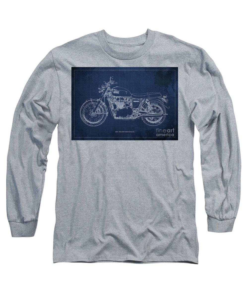 Moto Blueprint Drawings Long Sleeve T-Shirts