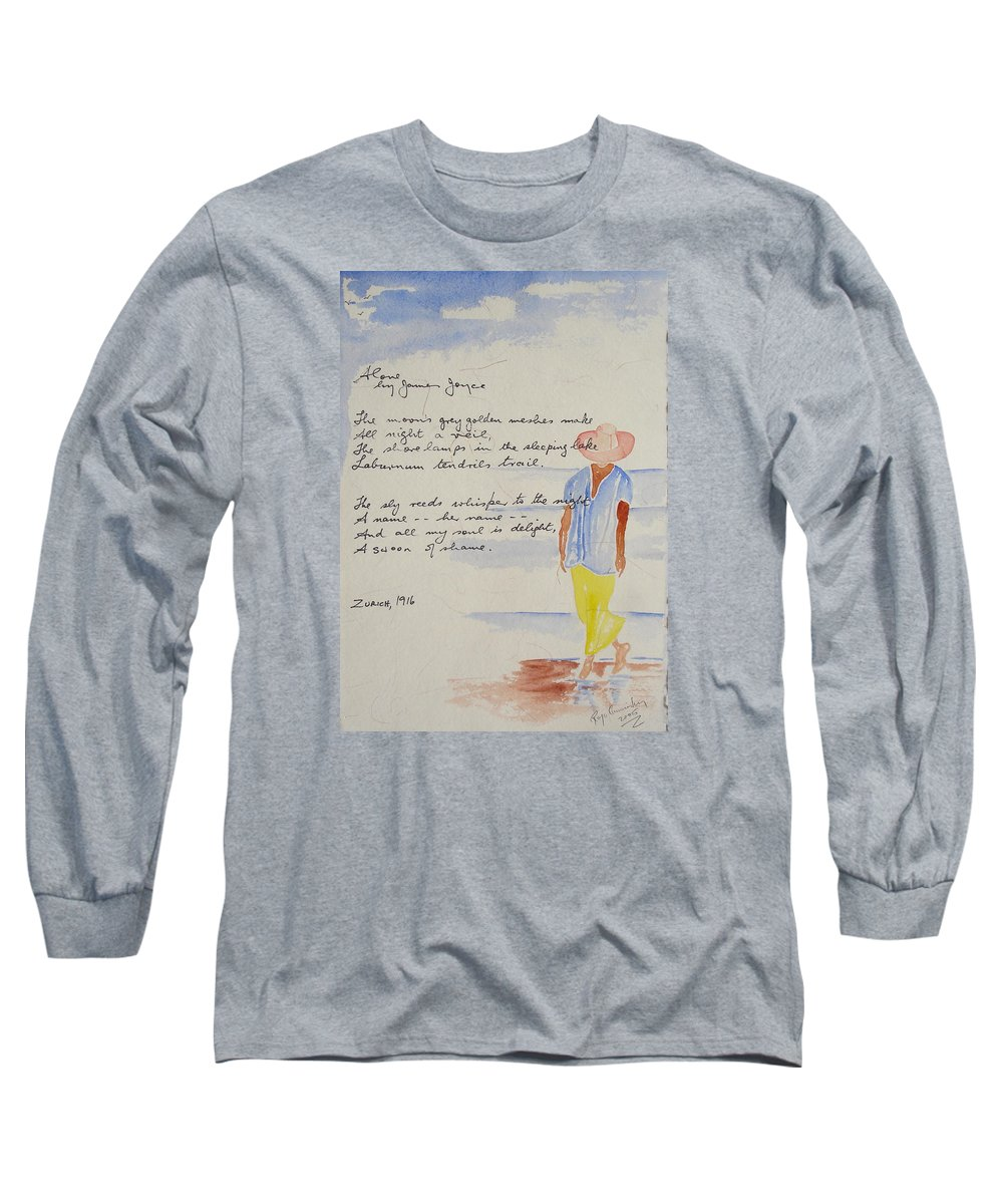 Love Heart Valentines Long Sleeve T-Shirt featuring the painting Alone by Roger Cummiskey