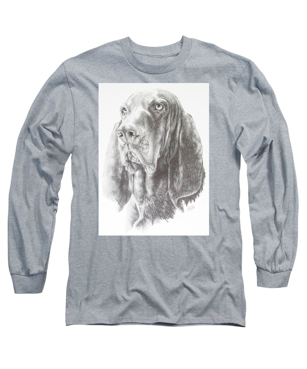 Dog Long Sleeve T-Shirt featuring the drawing Black And Tan Coonhound by Barbara Keith