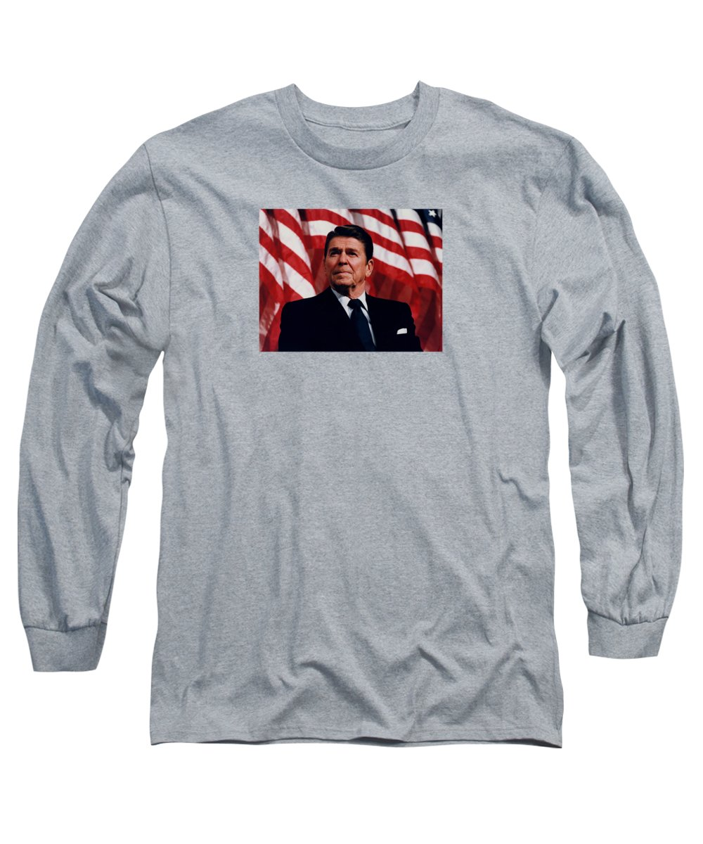 Ronald Reagan Long Sleeve T-Shirt featuring the photograph President Ronald Reagan by War Is Hell Store