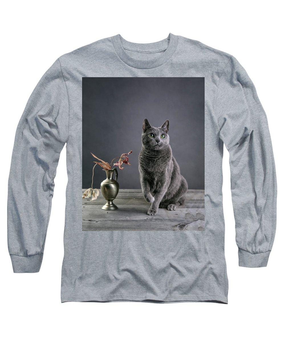 Russian Blue Long Sleeve T-Shirt featuring the photograph Russian Blue Cat by Nailia Schwarz