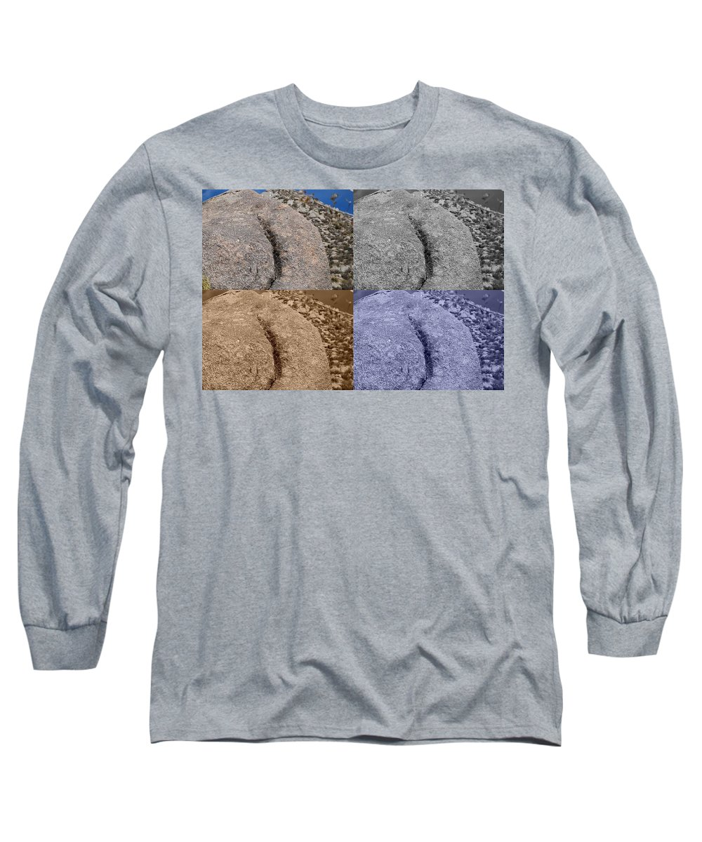 Sepia Long Sleeve T-Shirt featuring the photograph 4 Crack Rocks New Mexico by Rob Hans