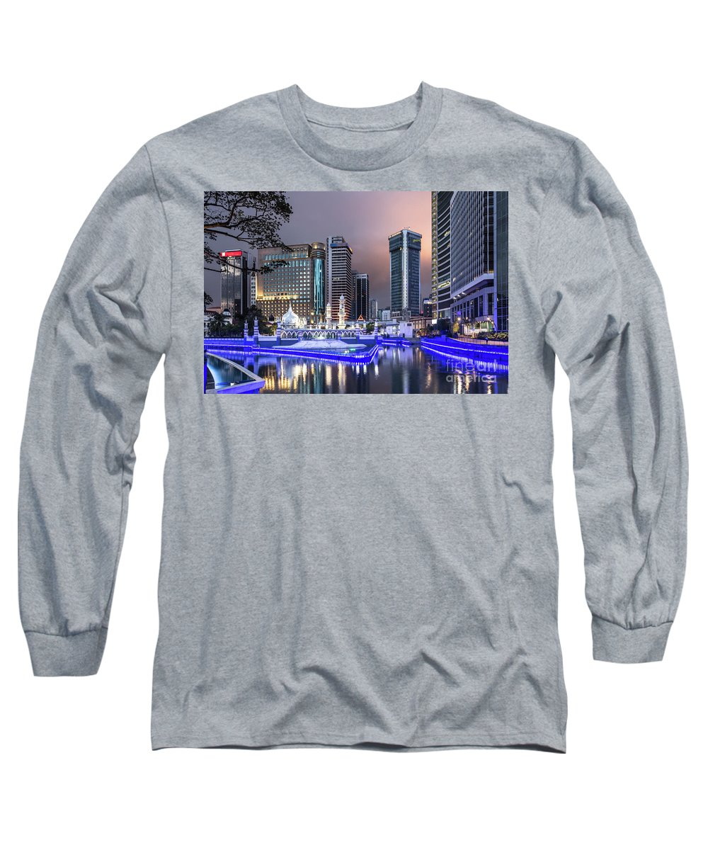 Ancient Long Sleeve T-Shirt featuring the photograph The Office Buildings Reflects In The Water Of The Klang River In by Didier Marti