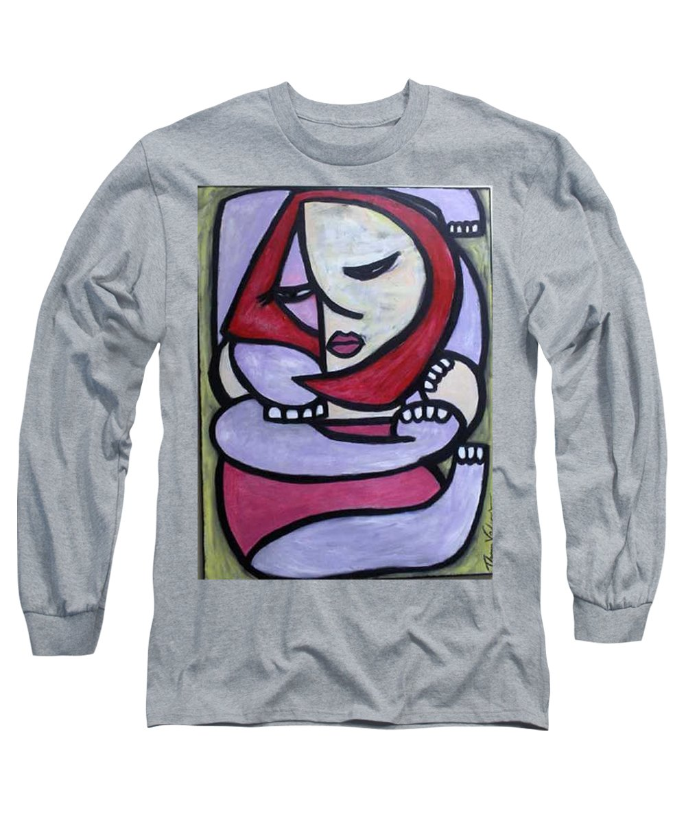 Abstact Long Sleeve T-Shirt featuring the painting Hugs by Thomas Valentine
