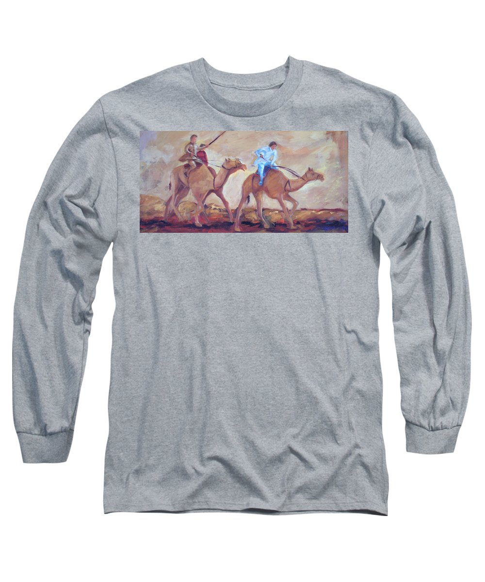 Figurative Long Sleeve T-Shirt featuring the painting A Day At The Camel Races by Ginger Concepcion