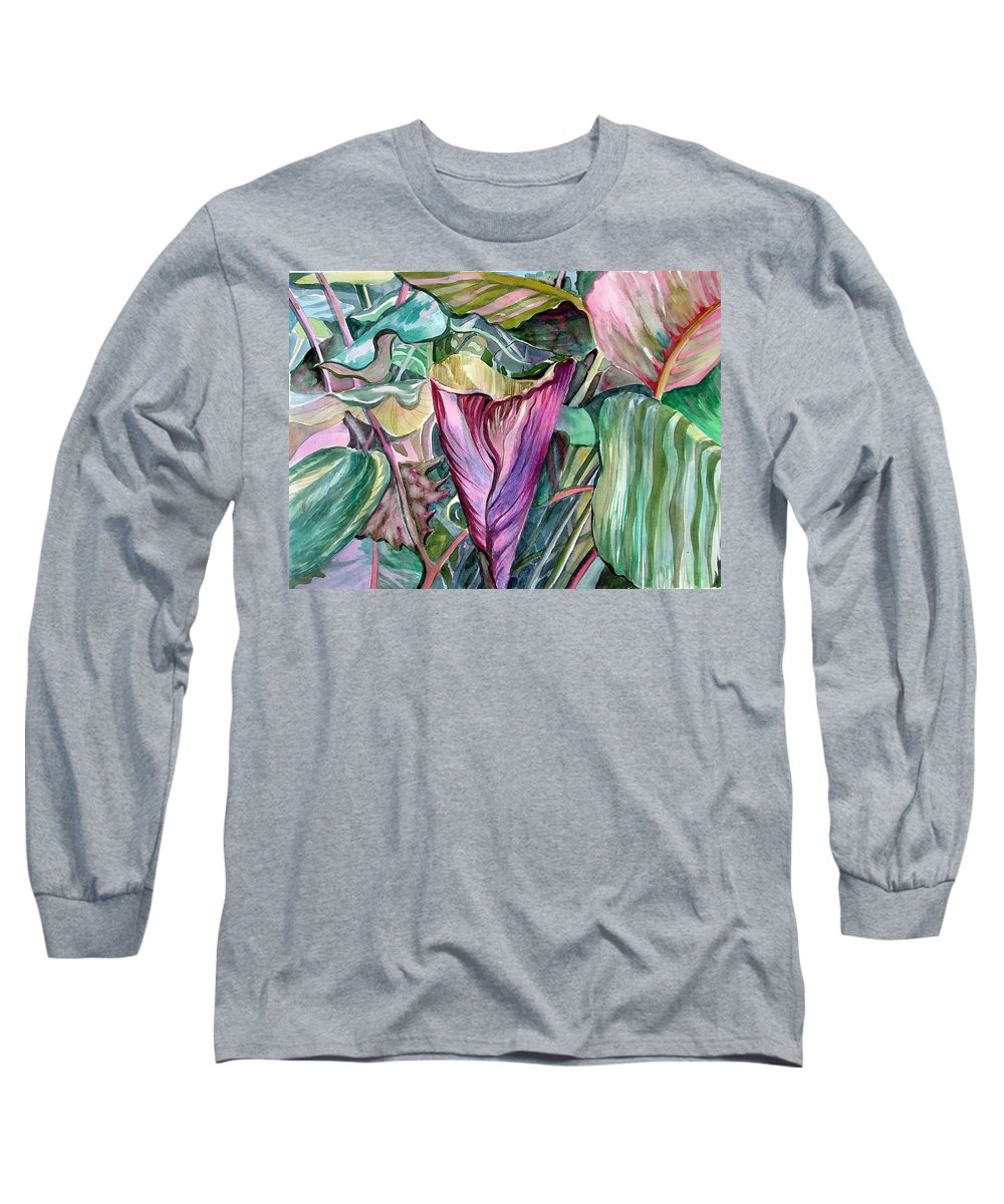 Garden Long Sleeve T-Shirt featuring the painting A Light In The Garden by Mindy Newman