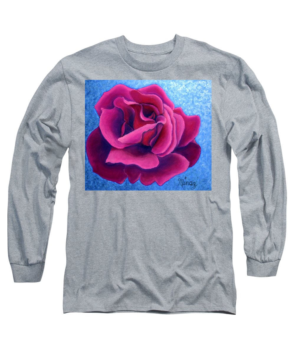 Rose. Pink Rose Long Sleeve T-Shirt featuring the painting A Rose Is A Rose.. by Minaz Jantz