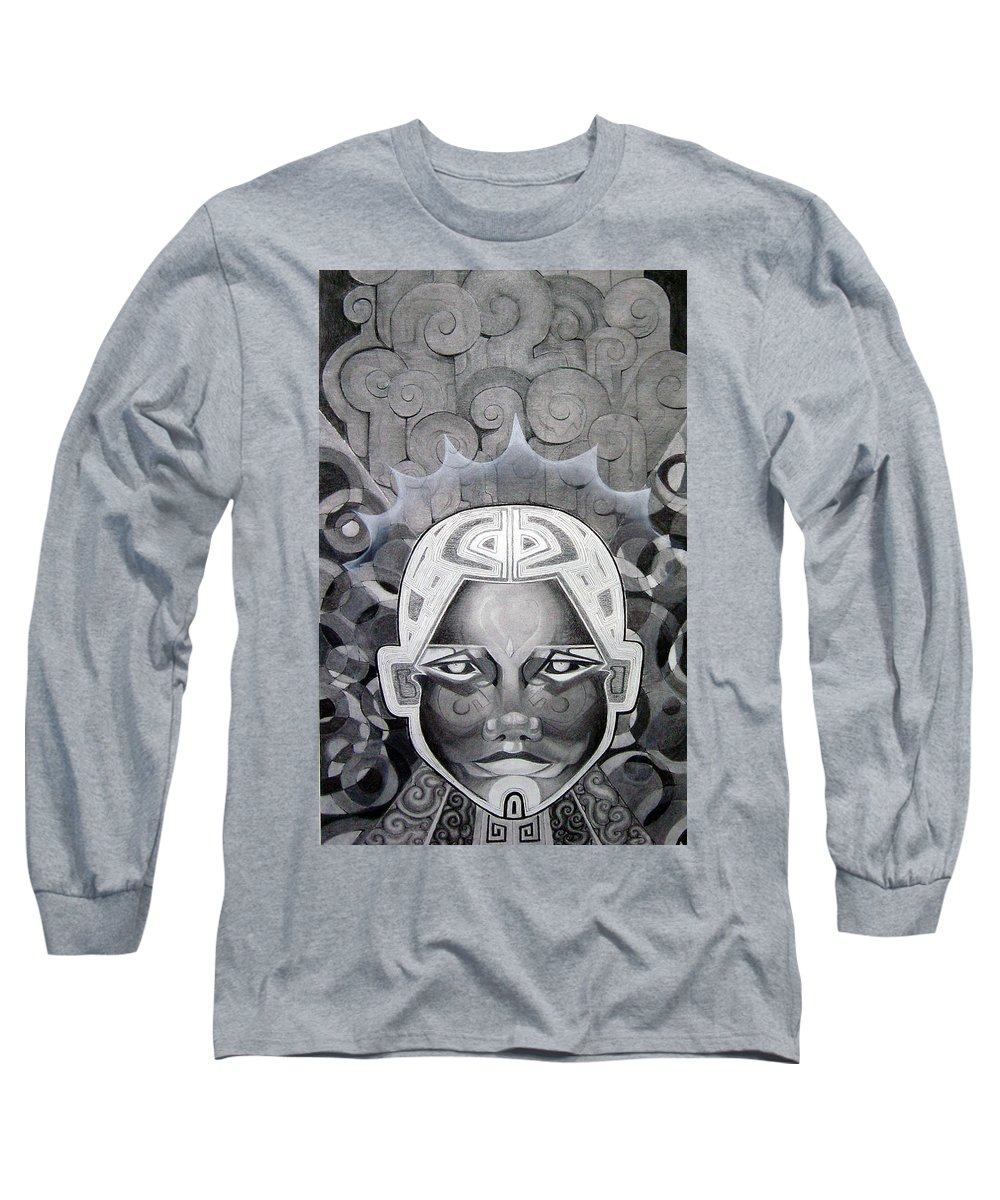 Art Long Sleeve T-Shirt featuring the drawing Abcd by Myron Belfast
