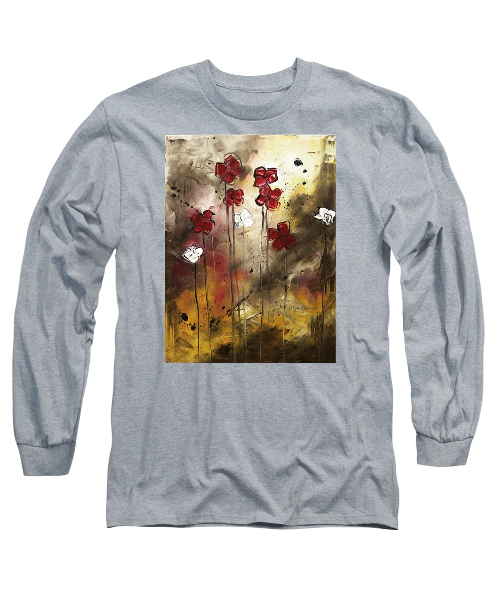 Abstract Long Sleeve T-Shirt featuring the painting Abstract Art Original Flower Painting Floral Arrangement By Madart by Megan Duncanson
