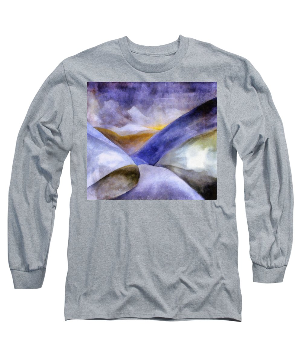 Blue Long Sleeve T-Shirt featuring the painting Abstract Mountain Landscape by Michelle Calkins