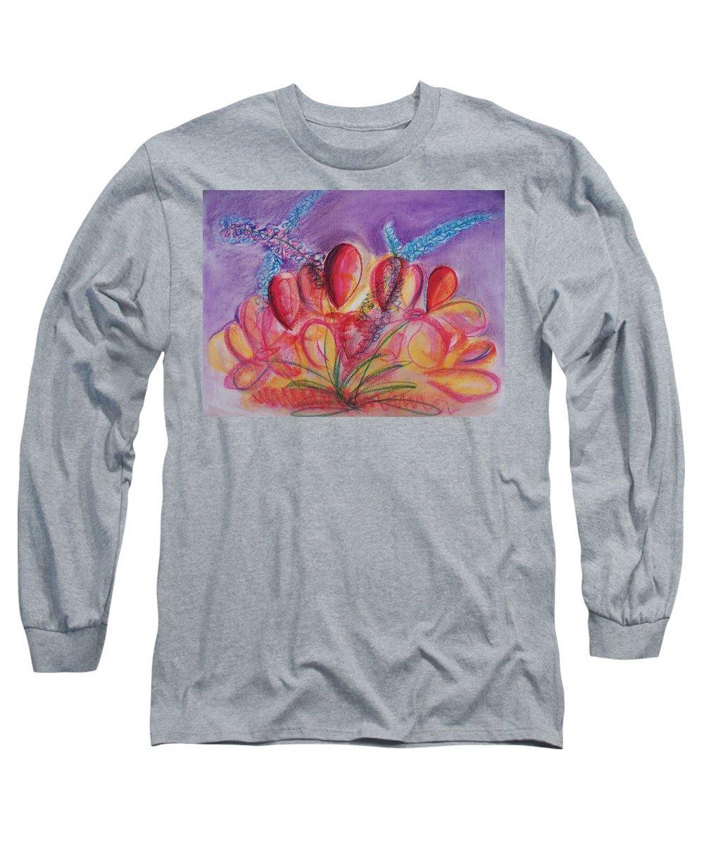 Abstract Long Sleeve T-Shirt featuring the drawing Abstract Red And Purple And Blue by Eric Schiabor
