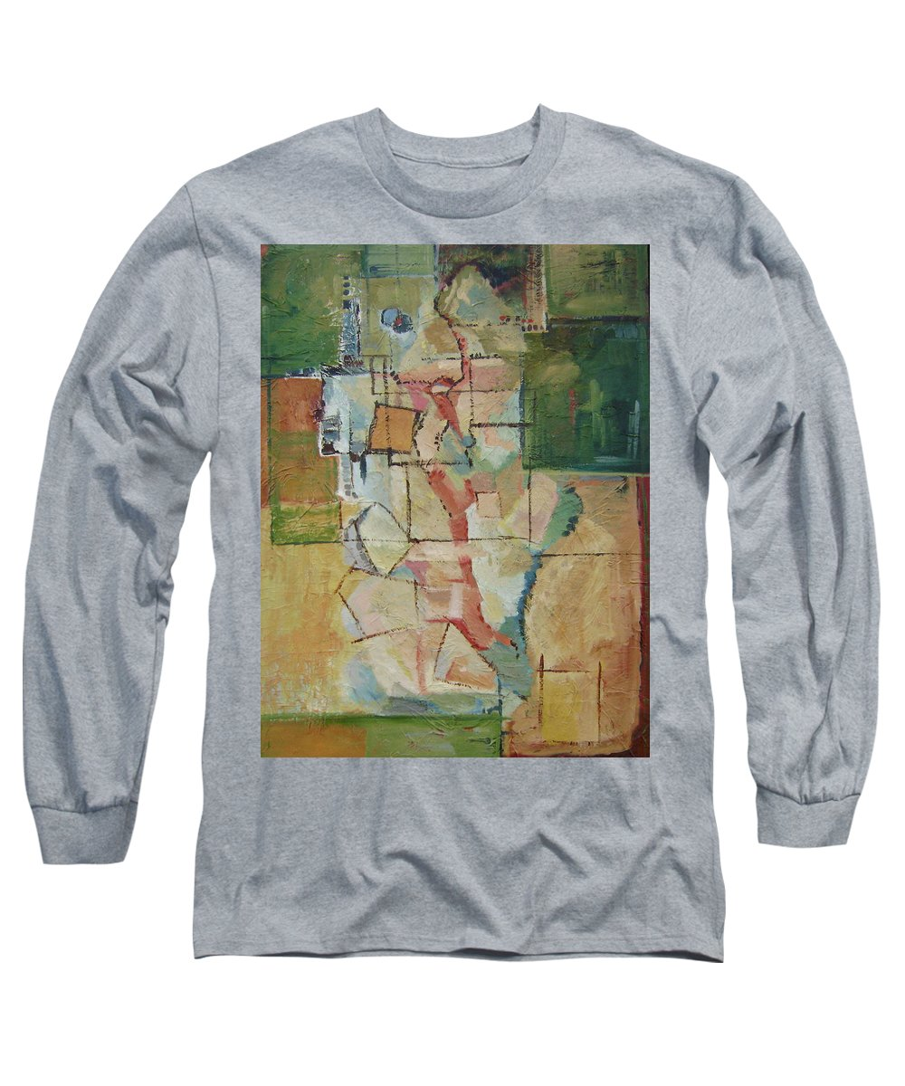 Abstract Art Long Sleeve T-Shirt featuring the painting Aerial by Ginger Concepcion
