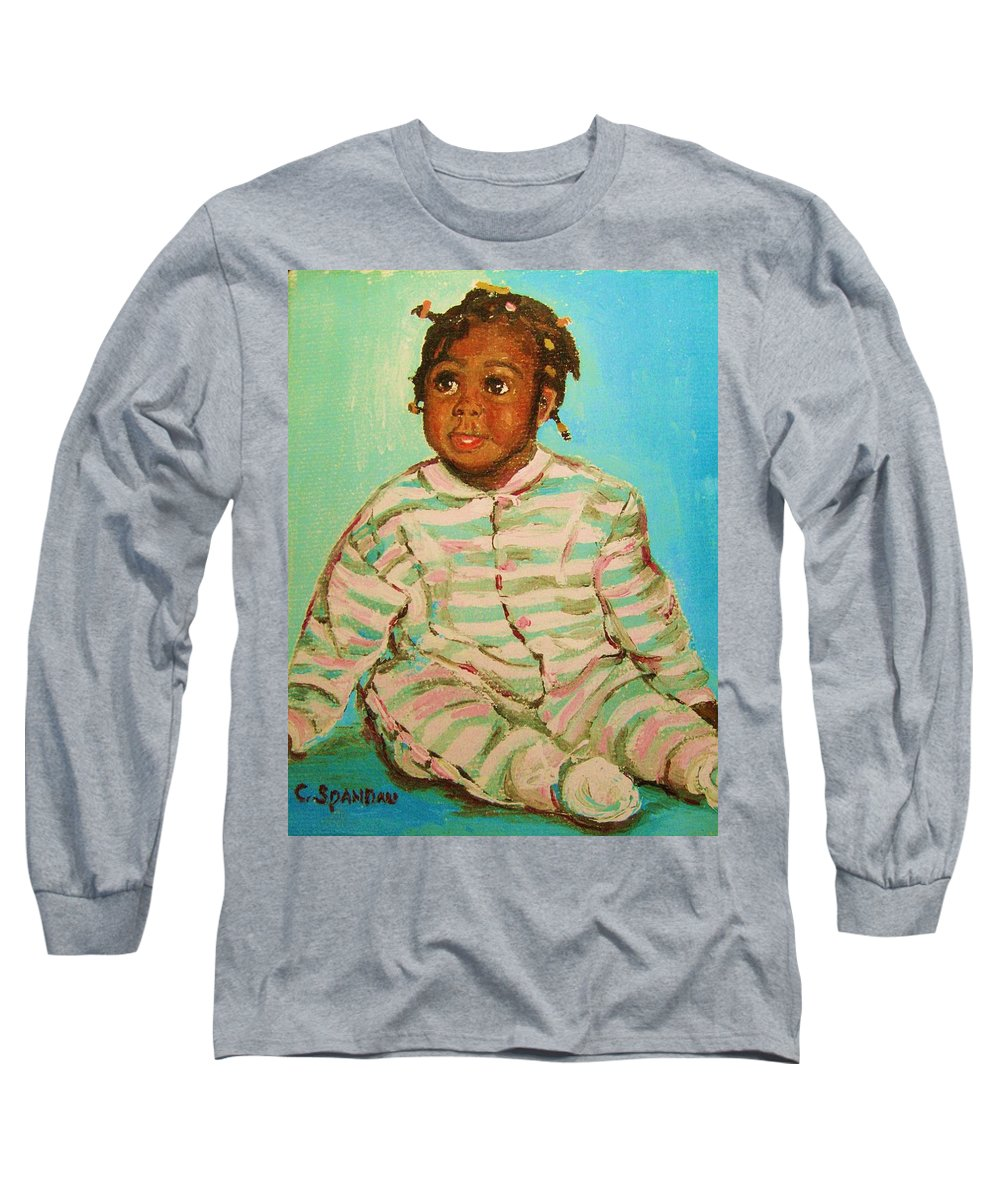 Africa Long Sleeve T-Shirt featuring the painting African Cutie by Carole Spandau