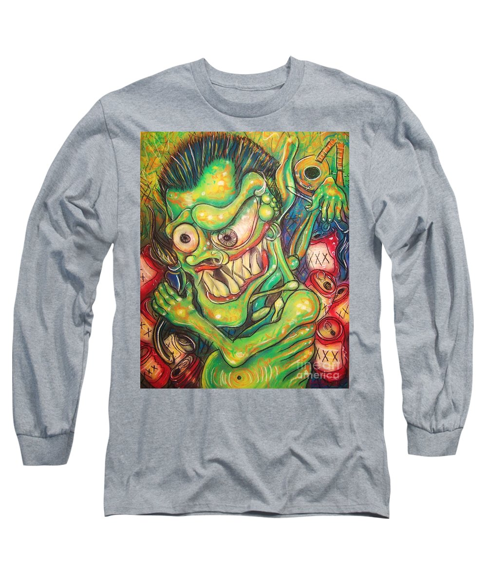 Beer Long Sleeve T-Shirt featuring the painting Alcoholic Demon by Americo Salazar