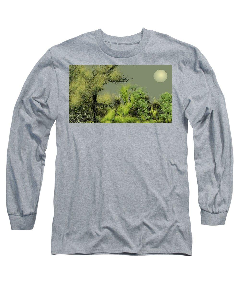 Digital Fantasy Painting Long Sleeve T-Shirt featuring the digital art Alien Garden 2 by David Lane