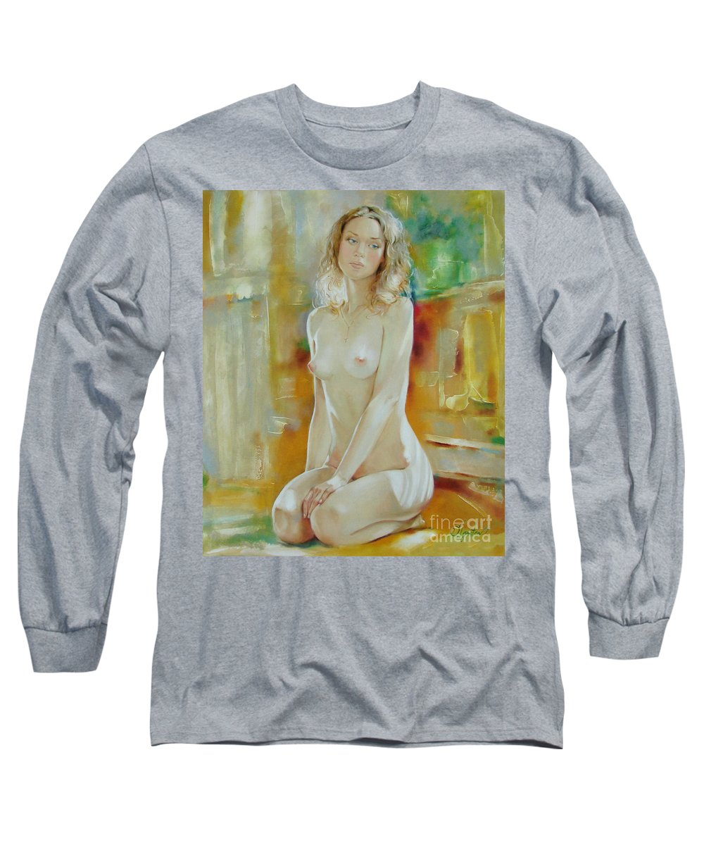 Art Long Sleeve T-Shirt featuring the painting Alone At Home by Sergey Ignatenko