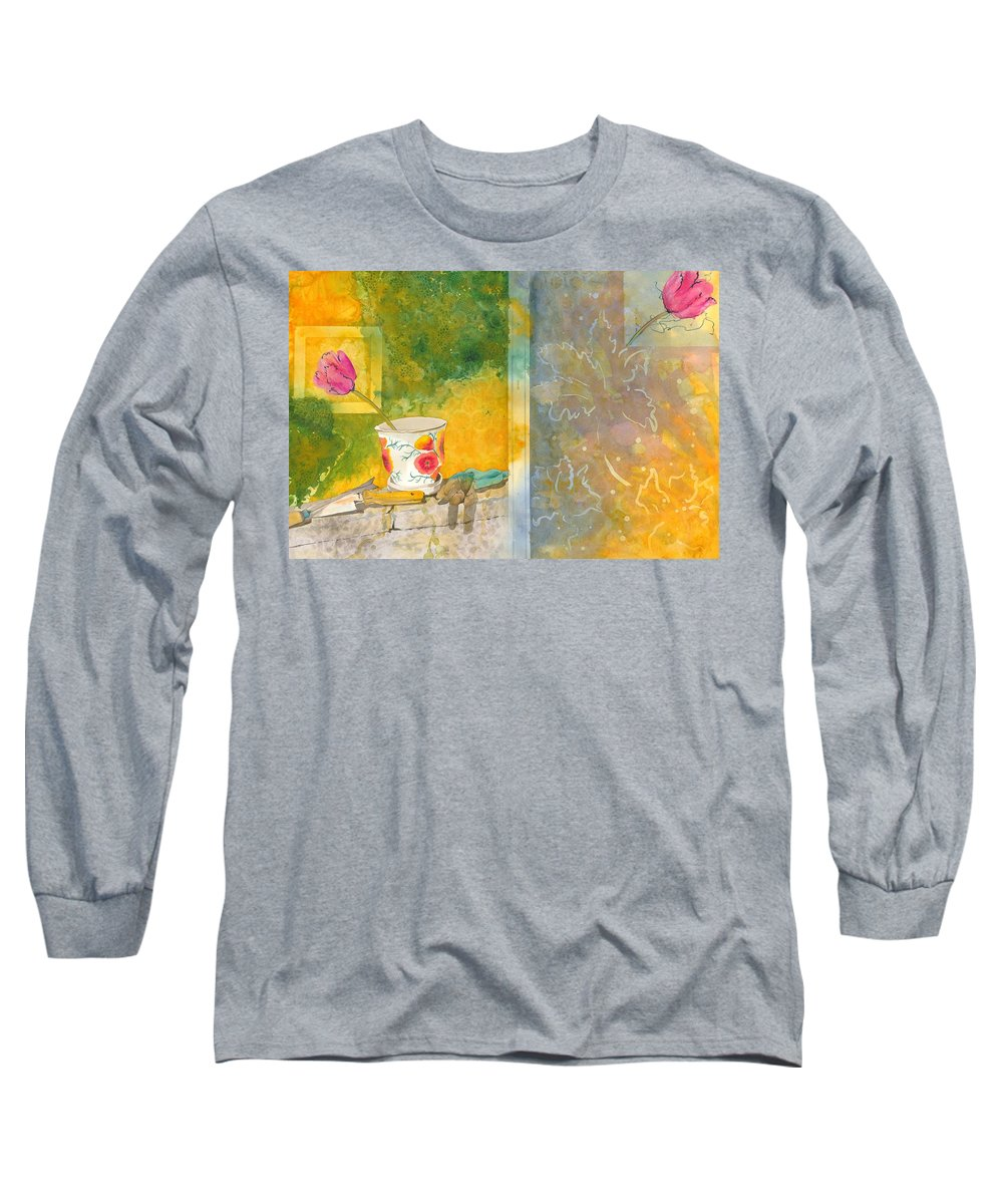 Garden Long Sleeve T-Shirt featuring the painting Along The Garden Wall by Jean Blackmer