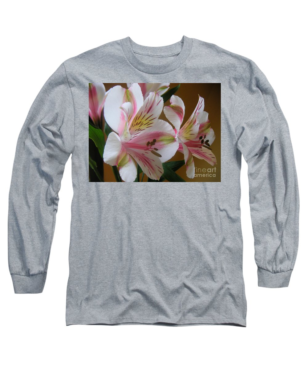 Nature Long Sleeve T-Shirt featuring the photograph Alstroemerias - Listening by Lucyna A M Green